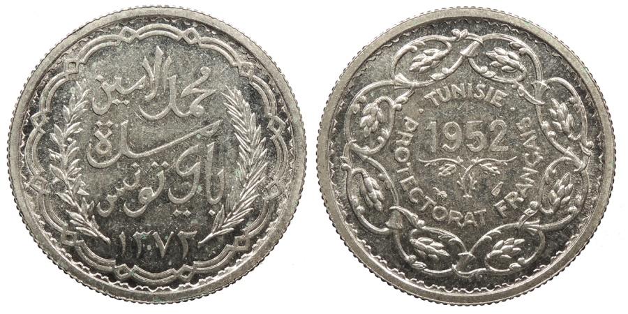 World Coins - TUNISIA Muhammad al-Hadi Bey AH 1372 / 1952 AD Proof 10 Francs Proof