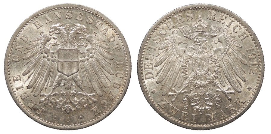 World Coins - GERMAN STATES Lubeck Free City 1912-A 2 Mark UNC