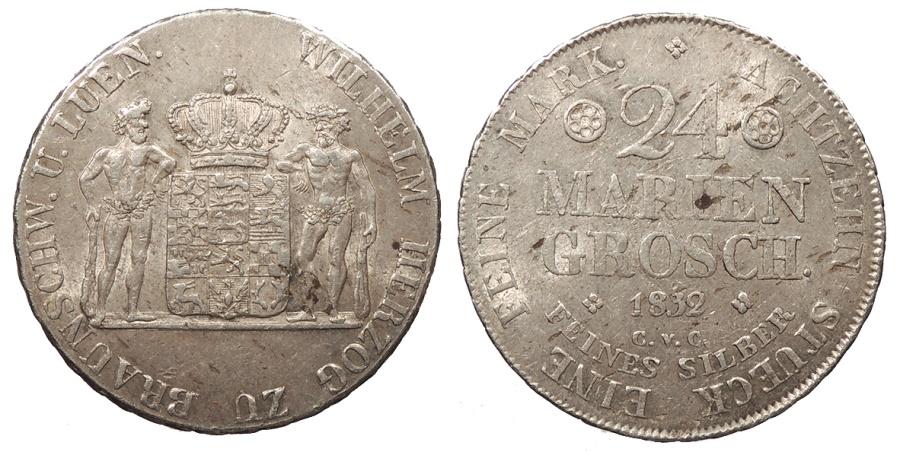 World Coins - GERMAN STATES Brunswick (Braunschweig)-Wolfenbuttel Wilhelm 1832-CvC 24 Mariengroschen (2/3 Thaler) AU/UNC