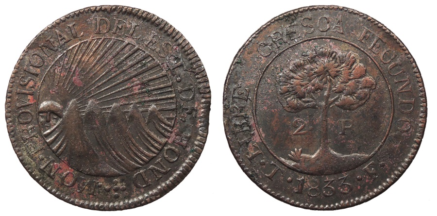 World Coins - HONDURAS 1833-T F Contemporary Counterfeit 2 Reales AU