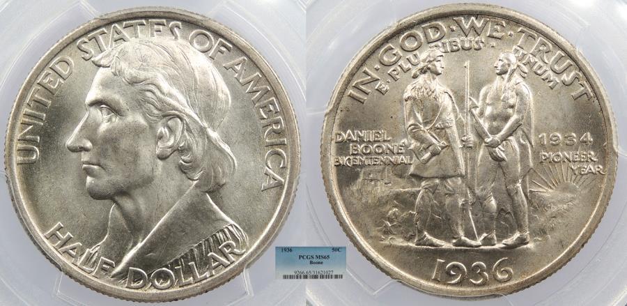 US Coins - 1936 Daniel Boone Commemorative 50 Cents (Half Dollar) PCGS MS-65
