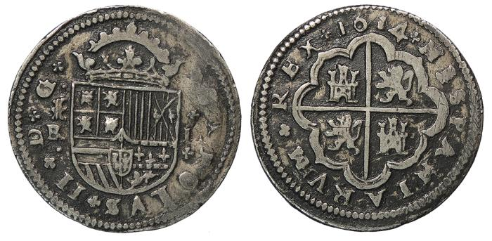 World Coins - SPAIN Carlos (Charles) II 1684-(BR) 2 Reales Good VF