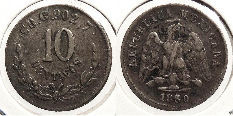 World Coins - MEXICO: Chihuahua 1880-CH G 10 Centavos