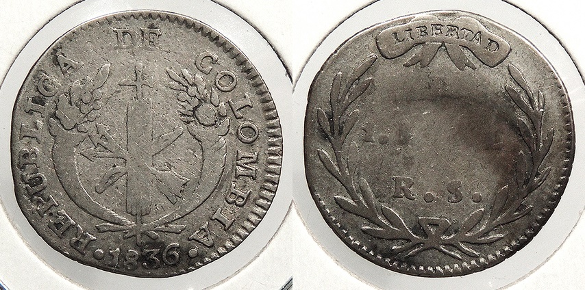 World Coins - COLOMBIA: 1836-B RS Real