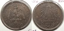 World Coins - MEXICO: Aguascalientes 1915 Revolutionary coinage. 20 Centavos