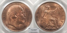 World Coins - GREAT BRITAIN Edward VII 1905 Halfpenny PCGS MS-65 RB