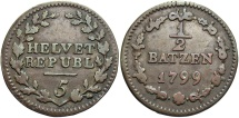 World Coins - SWISS CANTONS: Helvetian Republic 1799 1/2 Batzen