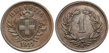 World Coins - SWITZERLAND: 1911 B 1 Rappen