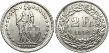 World Coins - SWITZERLAND: 1946-B 2 Francs