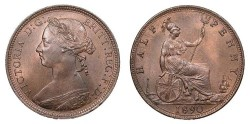 World Coins - GREAT BRITAIN Victoria 1890 Halfpenny UNC