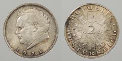 World Coins - AUSTRIA: 1928 Franz Schubert. 2 Schillings