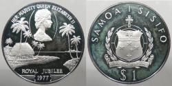 World Coins - SAMOA: 1977 Royal Jubilee .925 silver. Tala Proof