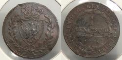 World Coins - ITALIAN STATES: Sardinia 1826-P eagle Centesimo