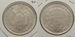 World Coins - BOLIVIA: 1895-Potosi ES 50 Centavos