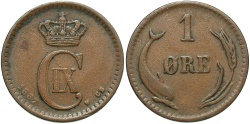 World Coins - DENMARK: 1887 1 Ore
