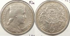 World Coins - LATVIA: 1931 5 Lati