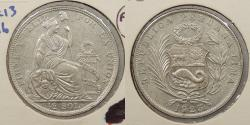 World Coins - PERU: 1923 Flat top 3. 1/2 Sol