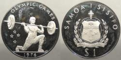 World Coins - SAMOA: 1976 Olympics - Weightlifting. Dollar Proof