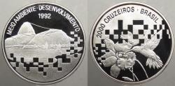 World Coins - BRAZIL: 1992 UN Conference Environment and Development 2000 Cruzeiros Proof
