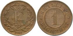 World Coins - DENMARK: 1860 1 Skilling Rigsmont