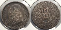 World Coins - ITALIAN STATES: Papal States 1868-R Pius IX (XXIII) 10 Soldi