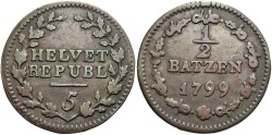 World Coins - SWISS CANTONS: Helvetian Republic 1799 1/2 Batzen