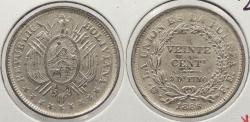 World Coins - BOLIVIA: 1886-PTS FE 20 Centavos