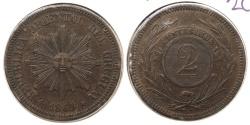 World Coins - URUGUAY: 1869-A 2 Centesimos