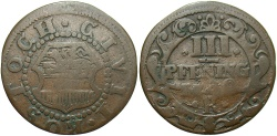 World Coins - GERMAN STATES: Rostock 1750 3 Pfennig