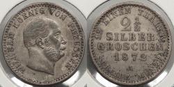 World Coins - GERMAN STATES: Prussia 1872-A 2-1/2 Silber Groschen