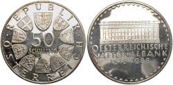 World Coins - AUSTRIA: 1966 150th Anniversary of the Austrian National Bank 50 Schilling