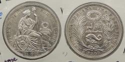 World Coins - PERU: 1908/7-LIMA JR Overdate. 1/2 Sol