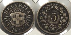 World Coins - SWITZERLAND: 1877-B 5 Rappen