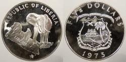 World Coins - LIBERIA: 1973 5 Dollars Proof