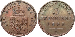 World Coins - GERMAN STATES: Prussia 1869-C 3 Pfennig