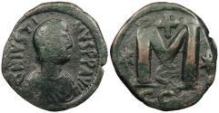 Ancient Coins - Justin I 518-527 A.D. Follis Constantinople Mint Good Fine