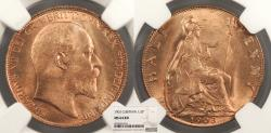 World Coins - GREAT BRITAIN Edward VII 1903 Halfpenny NGC MS-64 RD
