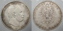 World Coins - GERMAN STATES: Prussia 1876-A 5 Mark