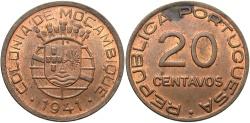 World Coins - MOZAMBIQUE: 1941 20 Centavos