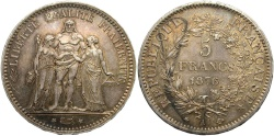 World Coins - FRANCE: 1876 A 5 Francs