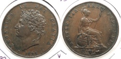 World Coins - GREAT BRITAIN: 1826 Halfpenny