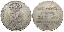World Coins - SPAIN Isabella II 1833 Proclamation 4 Reales Good VF