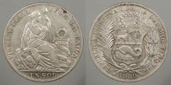 World Coins - PERU: 1889 TF/BF Sol