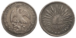 World Coins - MEXICO Sinaloa 1860-C PV Real AU