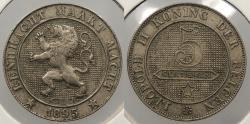 World Coins - BELGIUM: 1895 5 Centimes