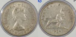 World Coins - AUSTRALIA: 1954 Lion & Kangaroo Florin