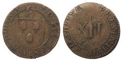 World Coins - FRANCE St. Omer Church & Convent of St. Bertin (Eglise & Couvent). 1716 AE Mereau de 12 Deniers VF