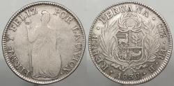 World Coins - PERU: 1836-CUZco B 4 Reales