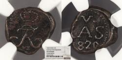 World Coins - INDIA Tranquebar Frederik VI 1820 4 Cash NGC EF