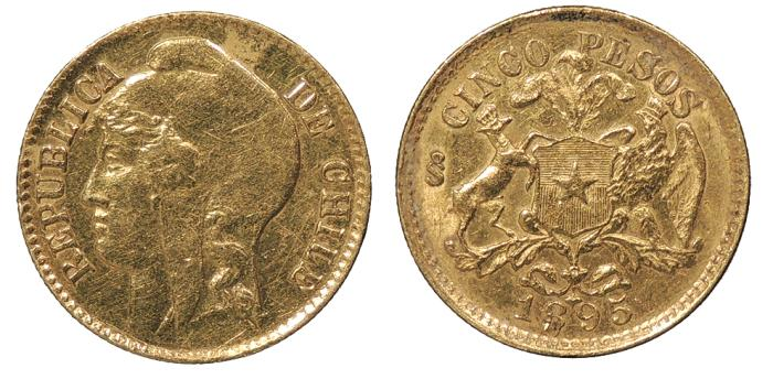 World Coins - CHILE 1895-S 5 Pesos AU